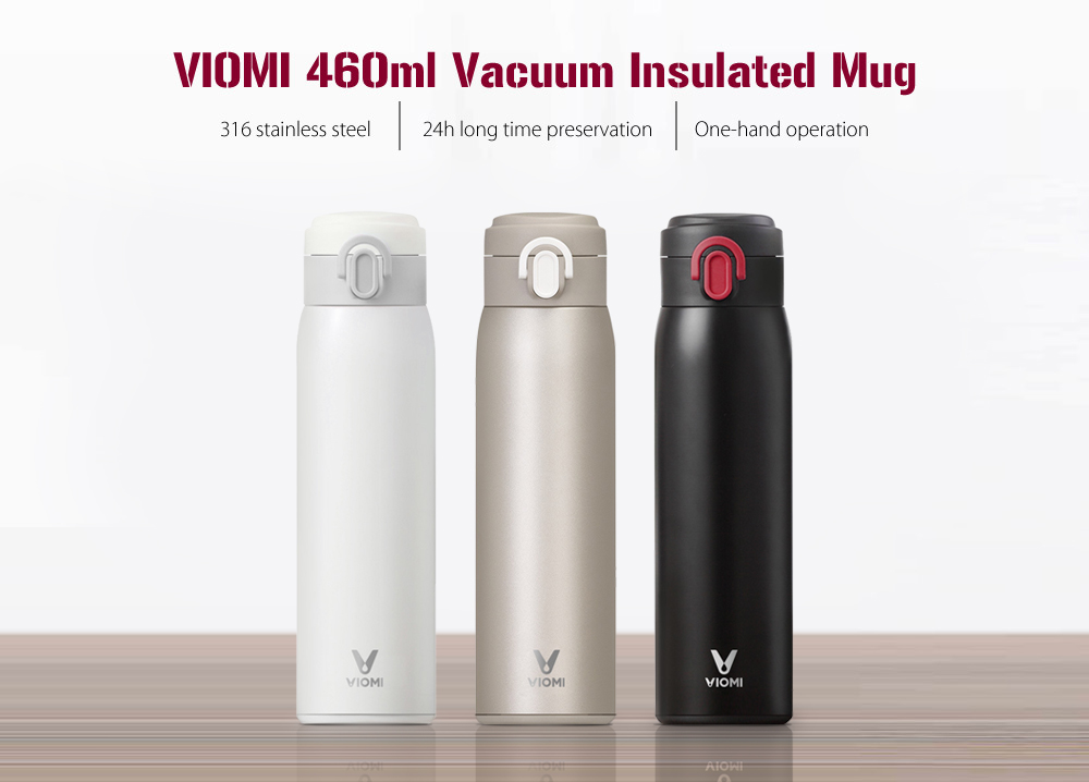 Mijia VIOMI 460ml Stainless Steel Vacuum Insulated Mug Sealed Water Bottle- White