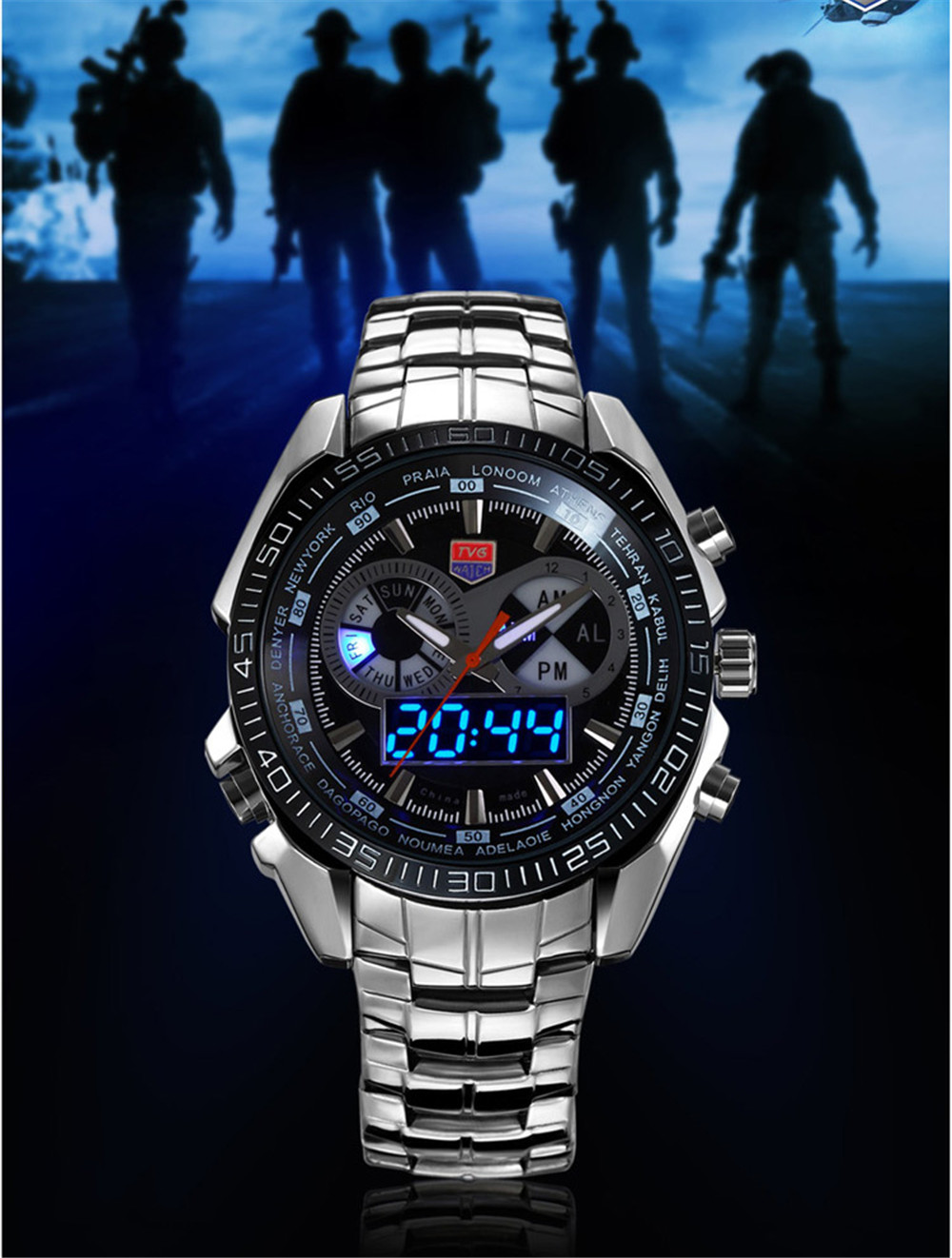 TVG KM-468 3747 Fashionable Leisure Trend Outdoor Sports Night Light Display Steel with Cool Electronic Quartz Watch