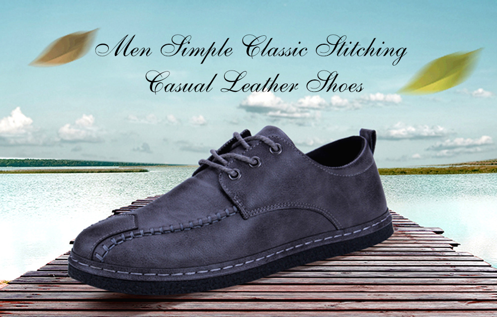 Simple Modern Classic Stitching Casual Leather Shoes for Men