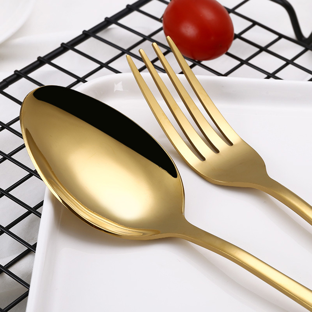 Rainbow Dinnerware Wedding Travel Cutlery Set Stainless Steel Dinner Knife Fork Scoops Silver Tableware- Silver