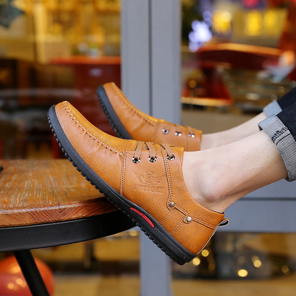 Comfortable Breathable Men Falt Lace-up Solid Leather Causal Shoes