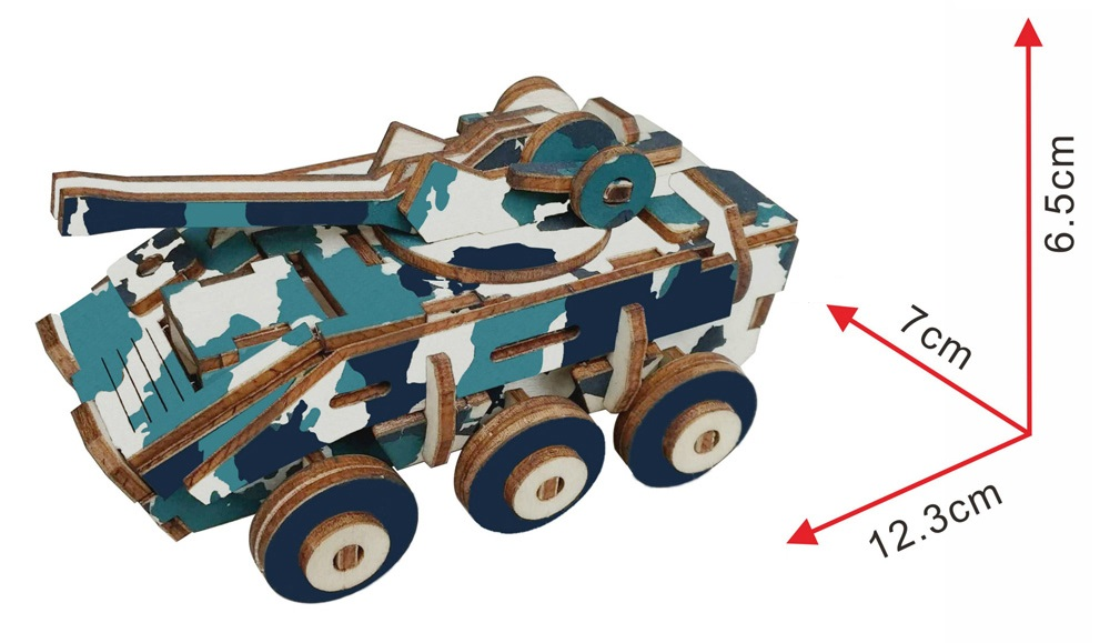 DIY 3D Wooden Explosion-proof Armored Car Puzzle Intelligence Model Toy Gift