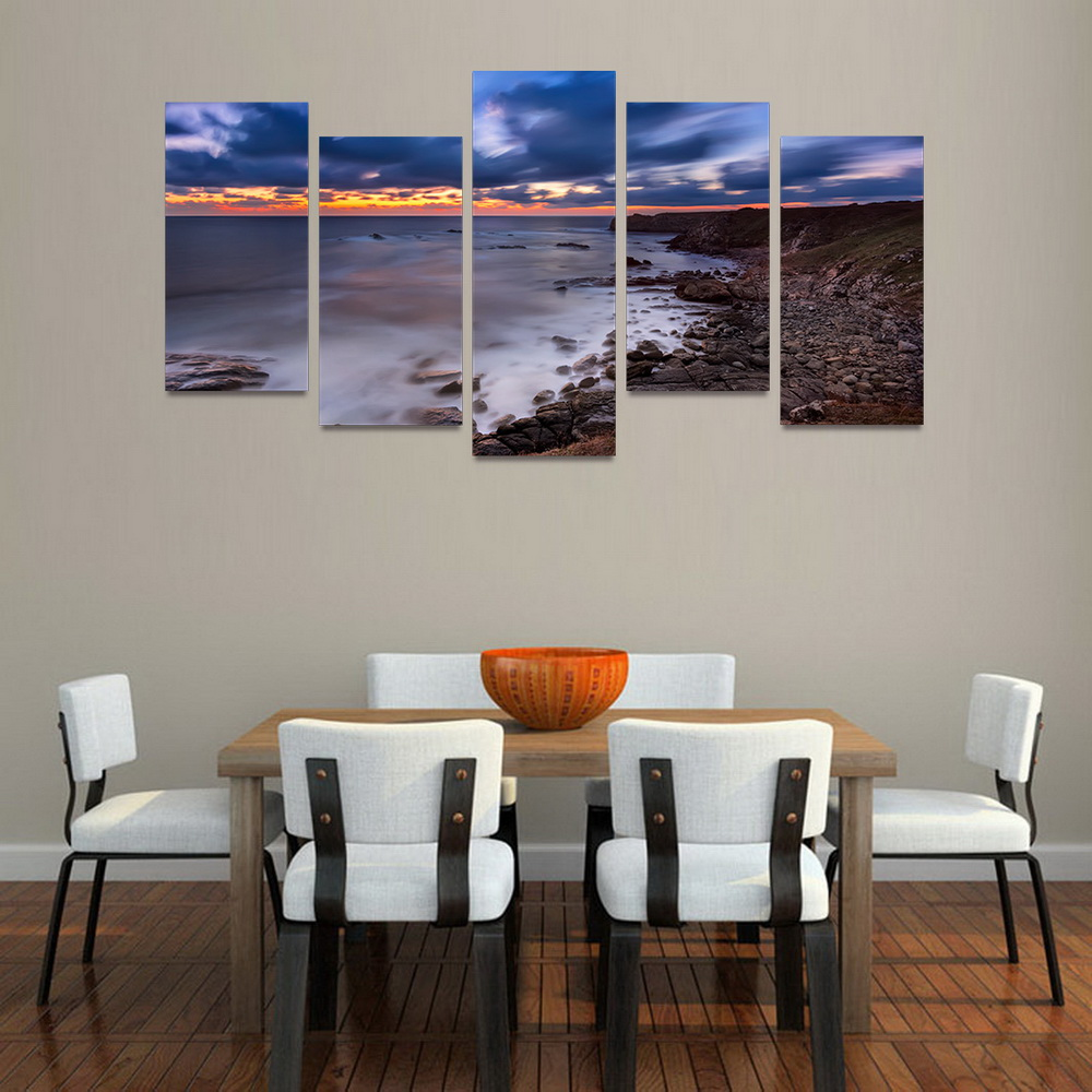 Mailingart Fiv043 5 Panels Seascape Wall Art Painting Home Decor Canvas Print