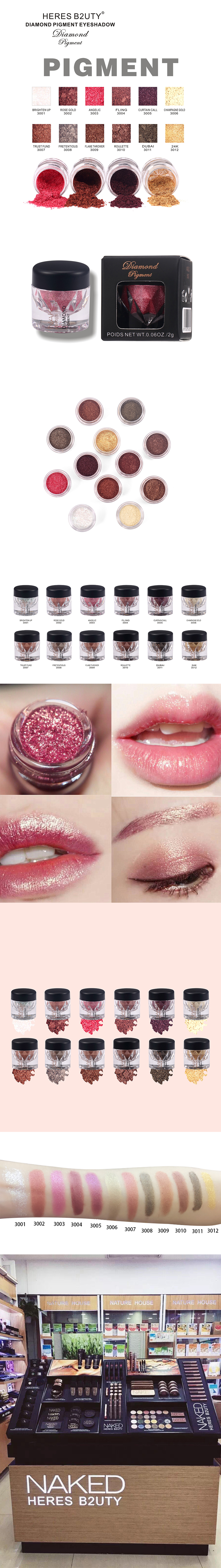 HERES B2UTY  Glitter EyeShadow Loose Powder Shimmer Pigment Makeup 12 Colors
