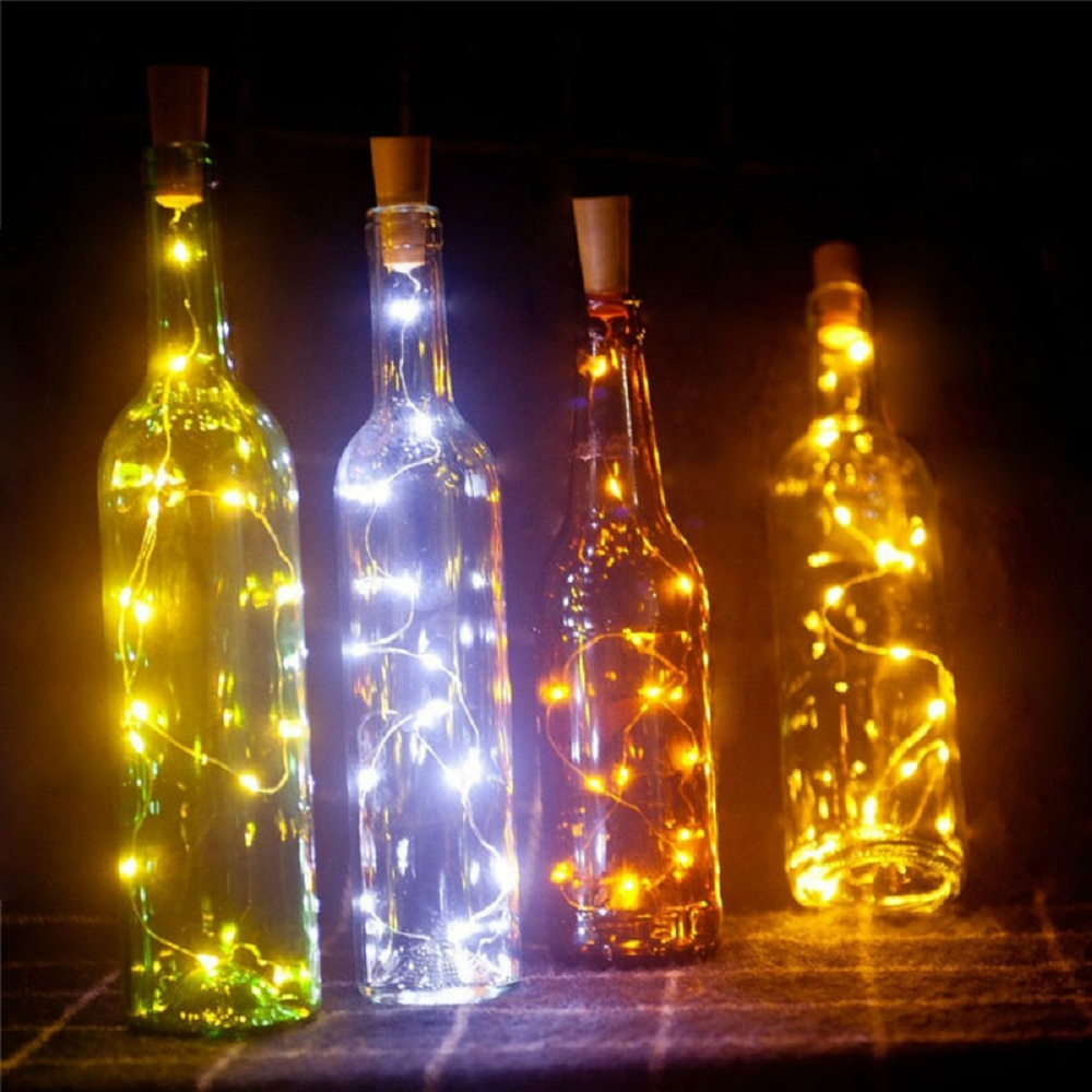 Wine Bottle Lights Part - 46: 1PC Wine Bottle Lights Battery LED Cork Shaped Starry String Lights 2METER  20LEDS Silver Wire Fairy