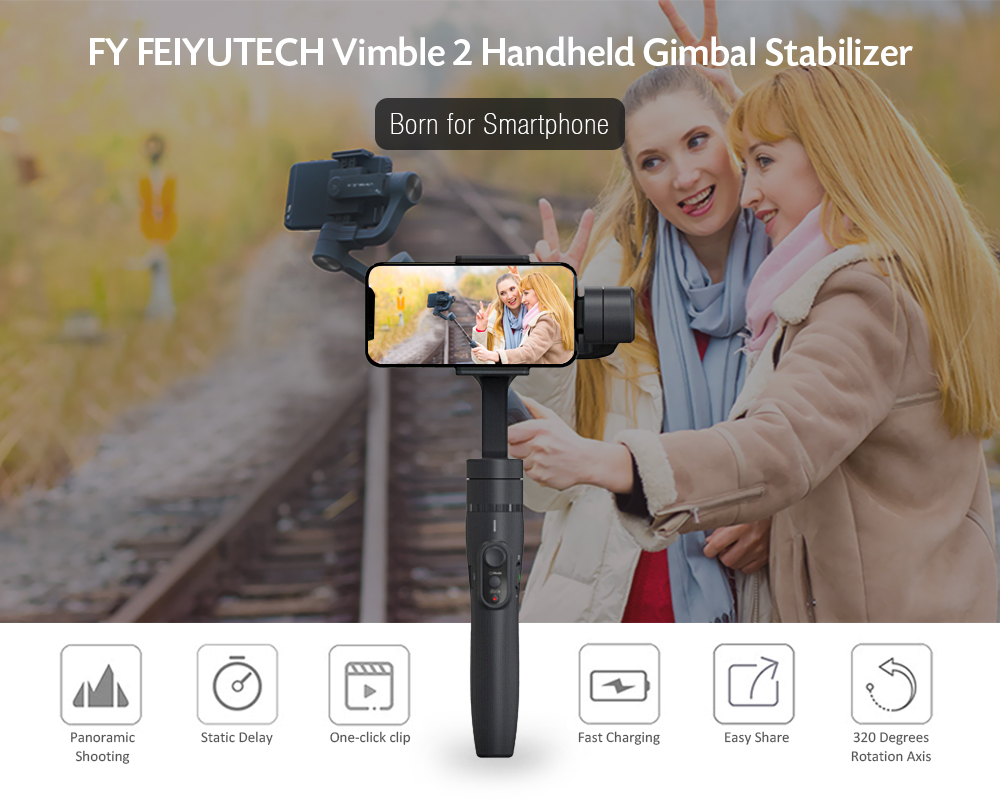 FY FEIYUTECH Vimble 2 Handheld Gimbal Stabilizer with Adjustable Extension Pole for Smartphone- Gray