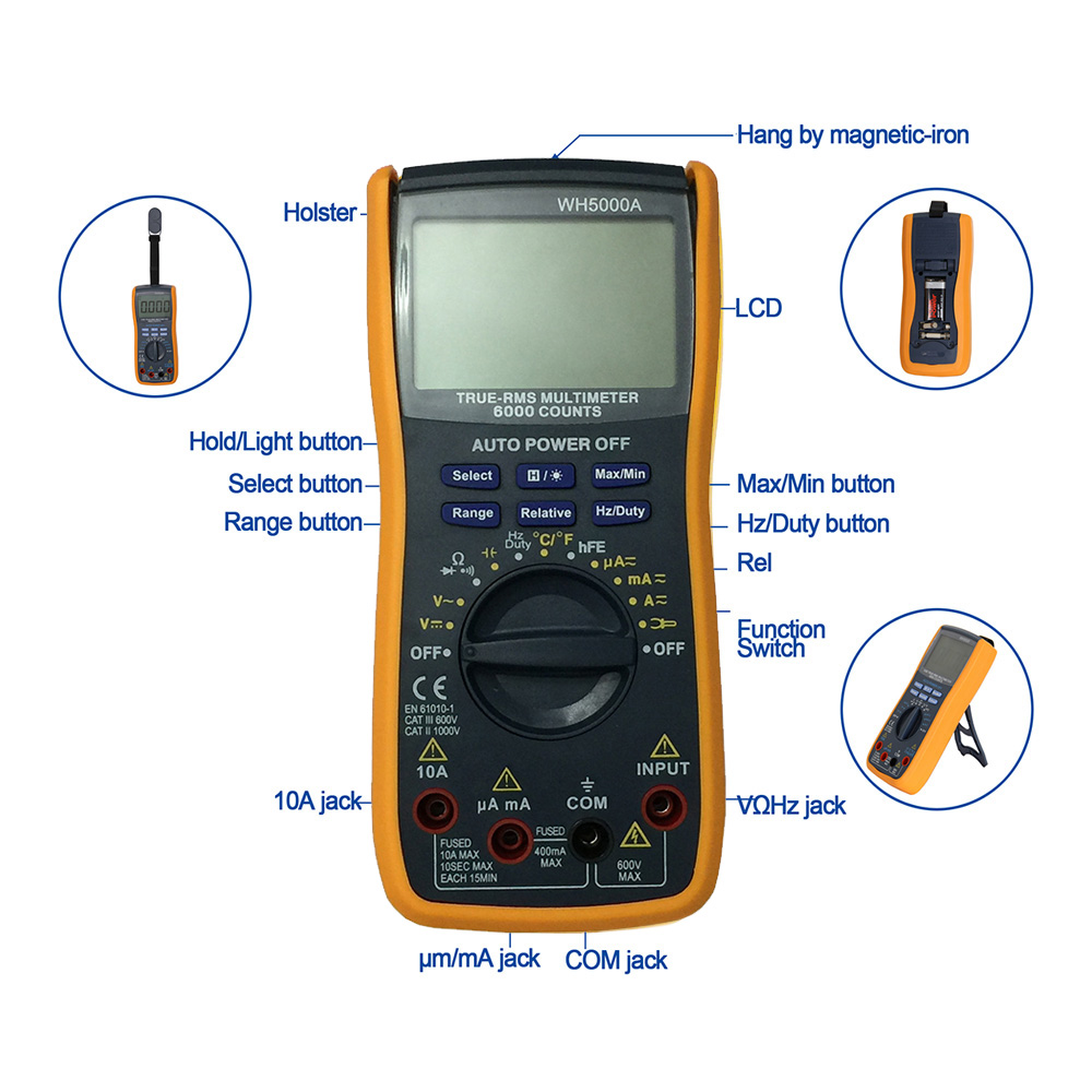 Wh5000a Lcd Handheld Digital Multimeter Using For Home And Car Schematic Diagram Of Dashboard Voltmeter Gray