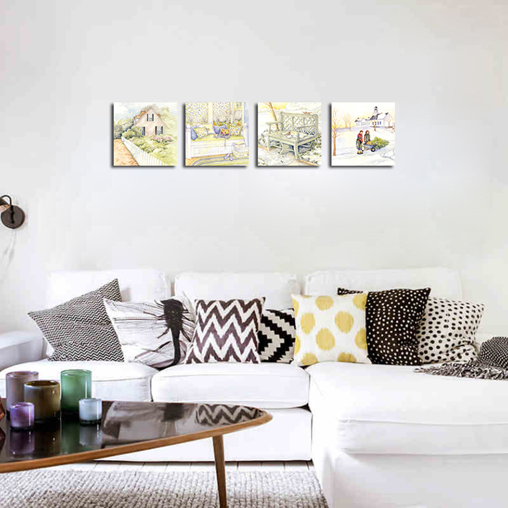 QiaoJiaHuaYuan No Frame Canvas Living Room Sofa Background Four Union Painting Rural Landscape Painting- Colormix 40cmx40cmx4