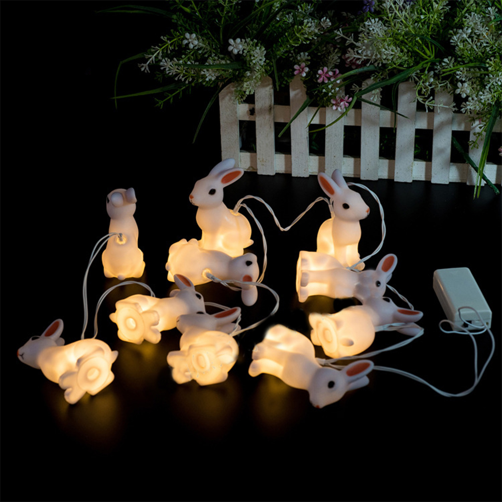 PVC Rabbit Lamp Party Light String Lights Fairy LED Home Decor Light Home Garden of Battery Powered 1.65M 10 LED
