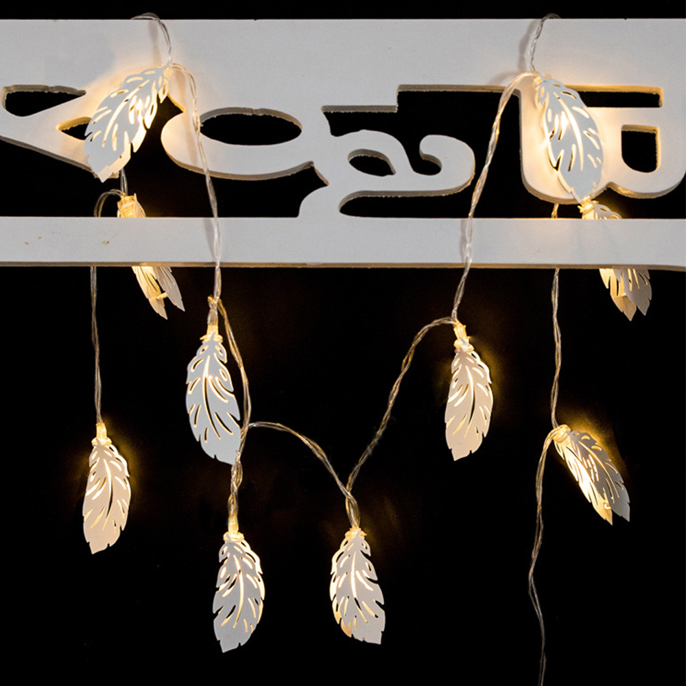 Iron White Feathers String Lights Fairy LED Home Decor Light Home Garden of Battery Powered 1.65M 10 LED