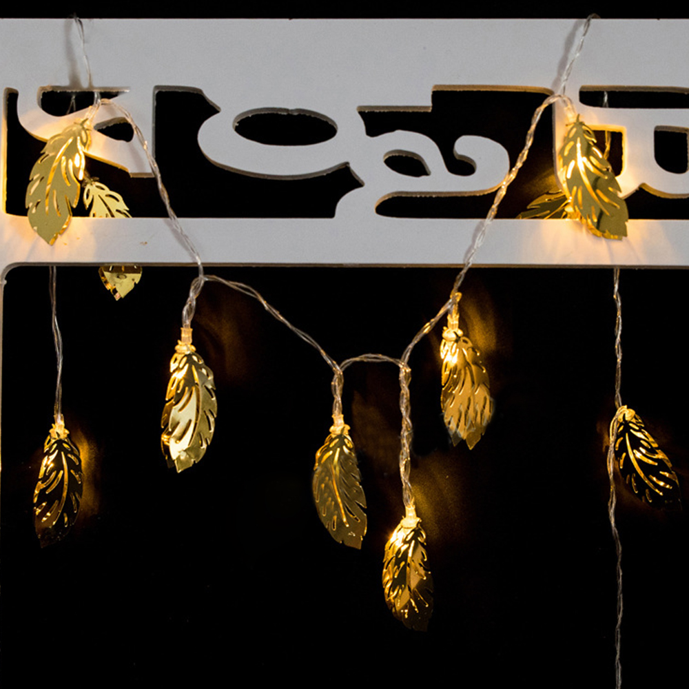 Iron Golden Feathers String Lights Fairy LED Home Decor Light Home Garden of Battery Powered 1.65M 10 LED