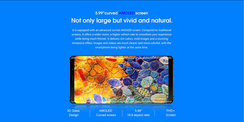 Elephone U 4G Phablet 5.99 inch Android 7.1 MTK6763T Octa Core 2.0GHz 6GB RAM 128GB ROM 13.0MP + 13.0MP Dual Rear Cameras Fingerprint Sensor Corning Gorilla Glass Screen 5