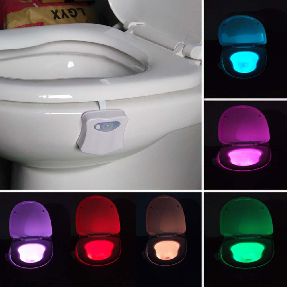 newest 83a61 b2ce1 Smart Bathroom Toilet Night Light LED Motion Activated On/Off Seat Sensor  Lamp 8 Color LED Toilet Lamp