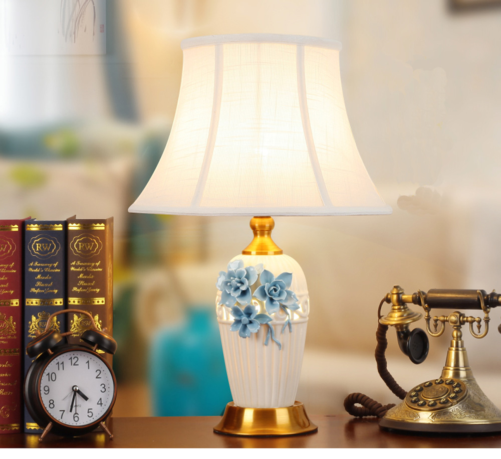 New Chinese Ceramic Table Lamp Creative Three-Dimensional Carved Flower Bedroom Bedside Living Room Decoration