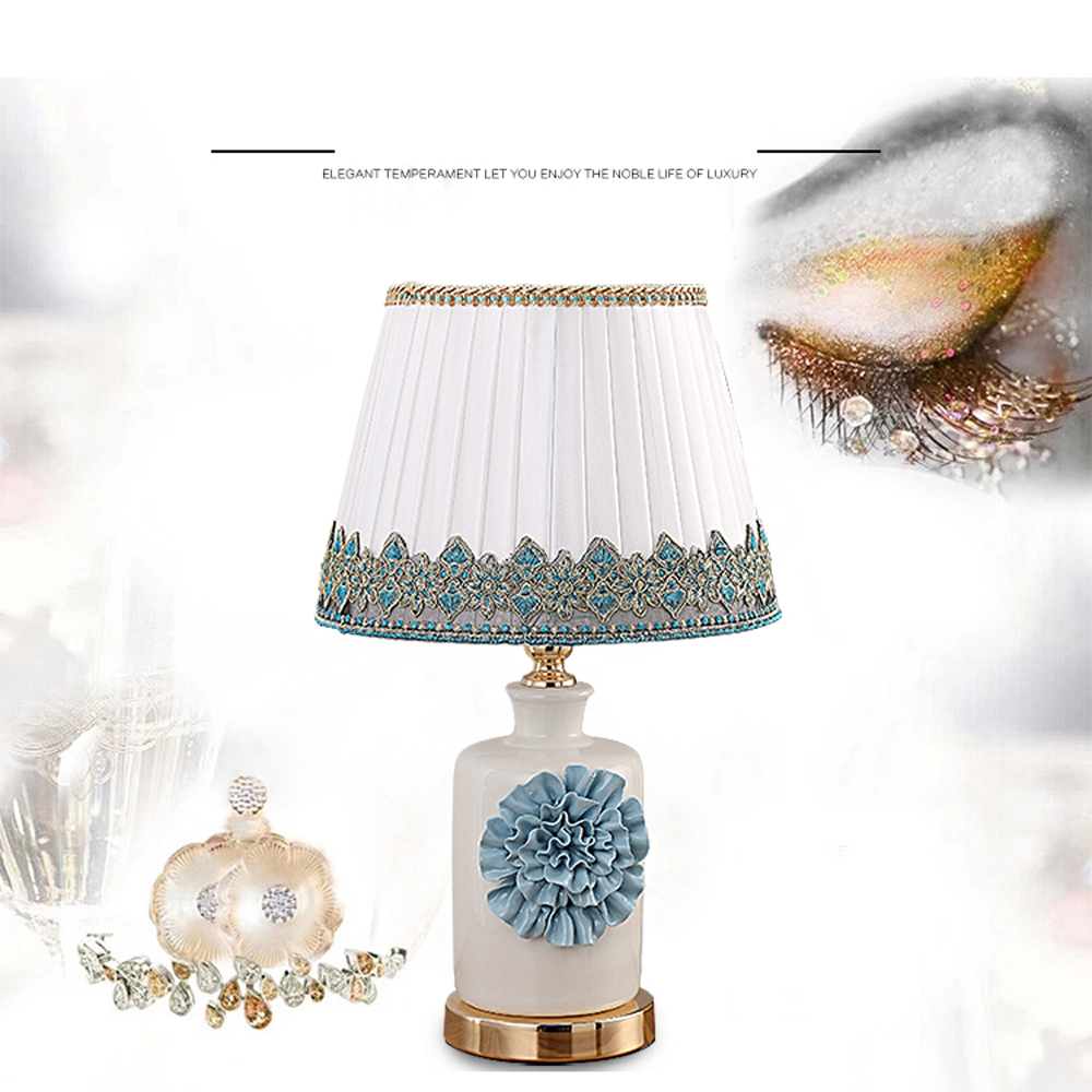 CT8022 European Living Room Bedroom Bedside Ceramic Desk Lamp