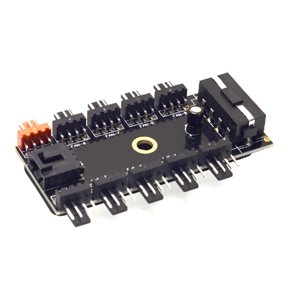 5 Pieces 12V 10 Way 4pin Fan Hub Speed Controller Regulator for Computer Case with PWM Connection Cable ILS