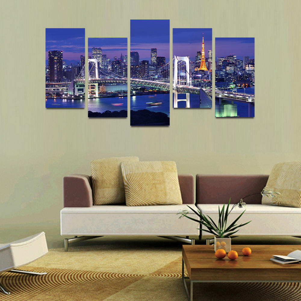 MailingArt F013 5 Panels Landscape Wall Art Painting Home Decor Canvas Print
