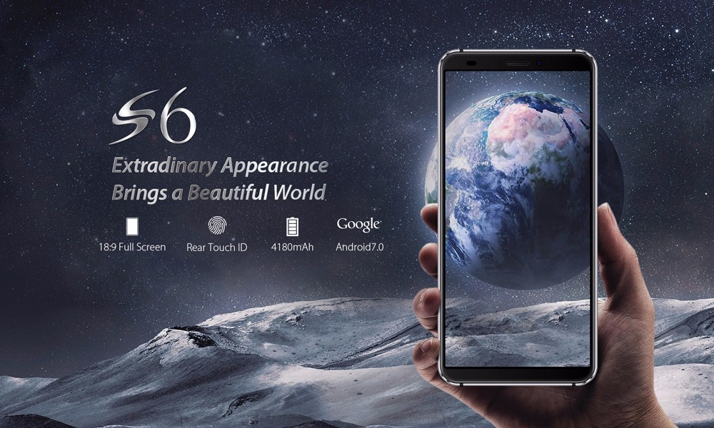 BlackviewS6 4G Phablet 5.7 inch Android 7.0 MTK6737 Quad Core 1.3GHz 2GB RAM 16GB ROM Dual Rear Cameras Fingerprint Recognition