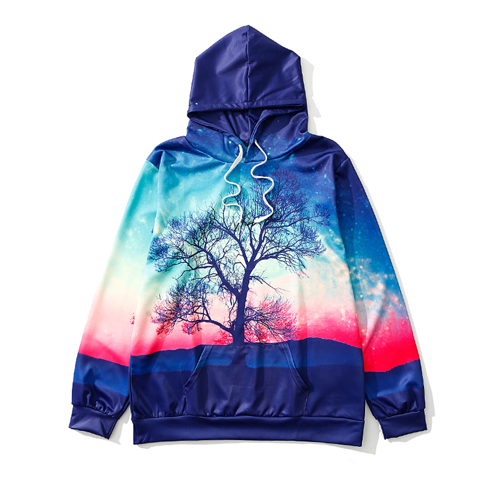 ZOEL Men's 3D Printing A Tree Long Sleeves Hoodie
