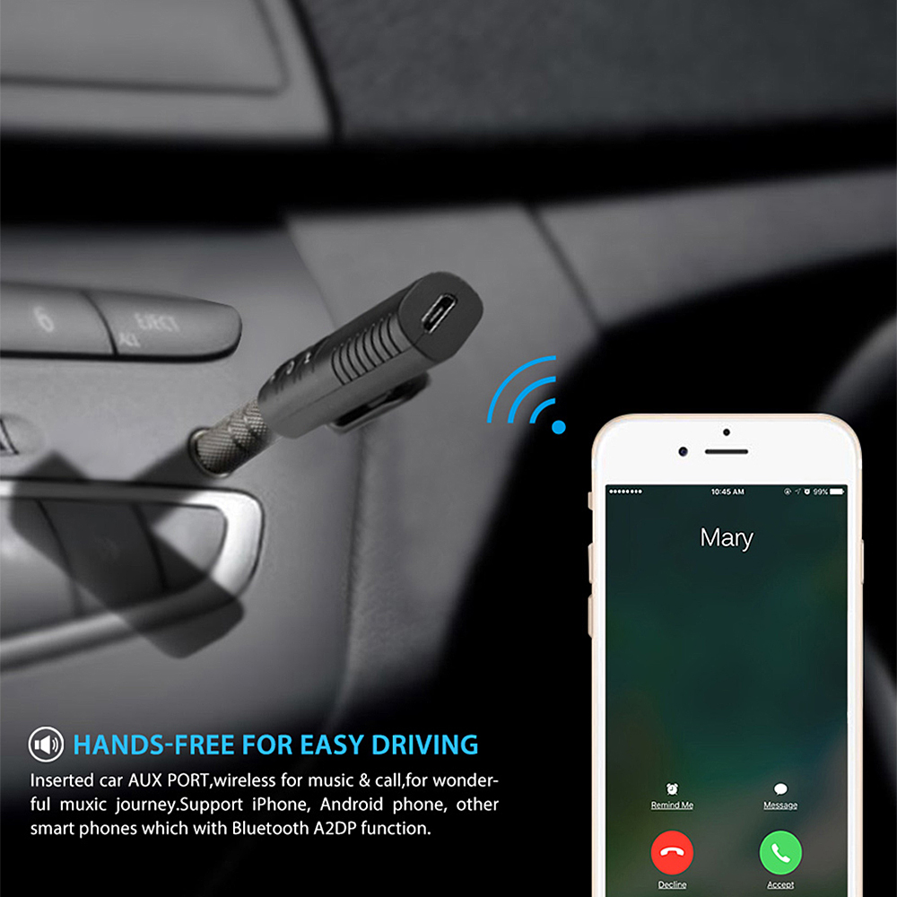 Universal 3.5mm AUX Bluetooth Adapter for Stream Smartphone Music to Car Radio