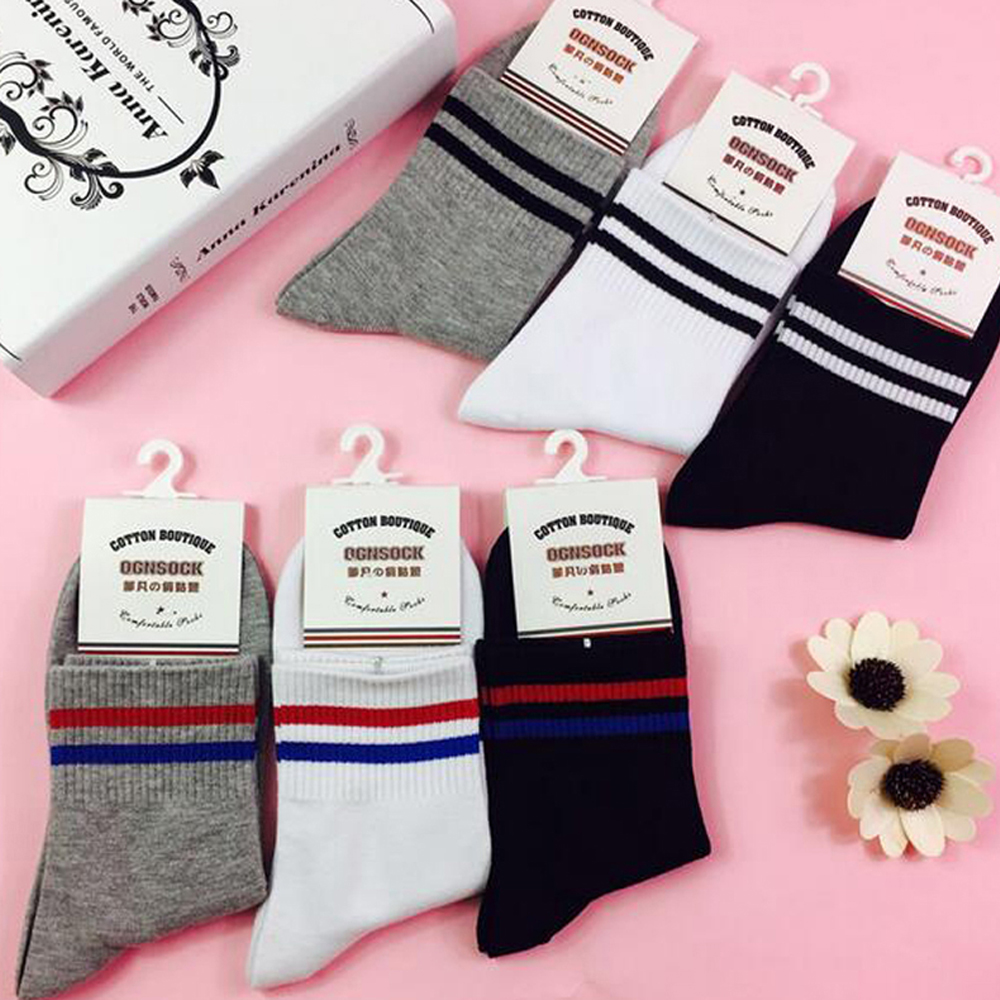Men's 5 Pairs Crew Striped Soft Chic Comfortable Socks