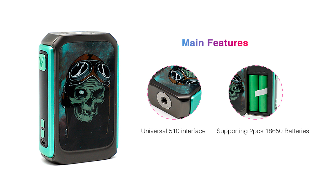 VZONE Graffiti 220W TC Mod with 200 - 600F / 0.1 - 3 ohm / Supporting 2pcs 18650 Batteries for E Cigarette
