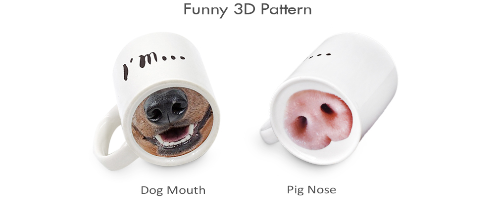 Mug Pig Nose Creative Funny Ceramic Coffee Water Juice Cup 301 - 400ml- White Pig Nose