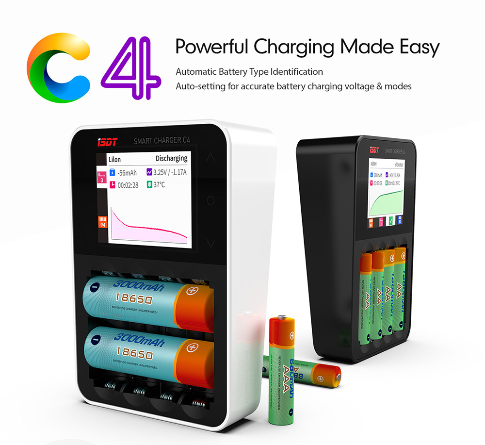 iSDT C4 Smart Battery Charger 8A LCD Dispaly With USB Output for AA AAA Li-ion Battery