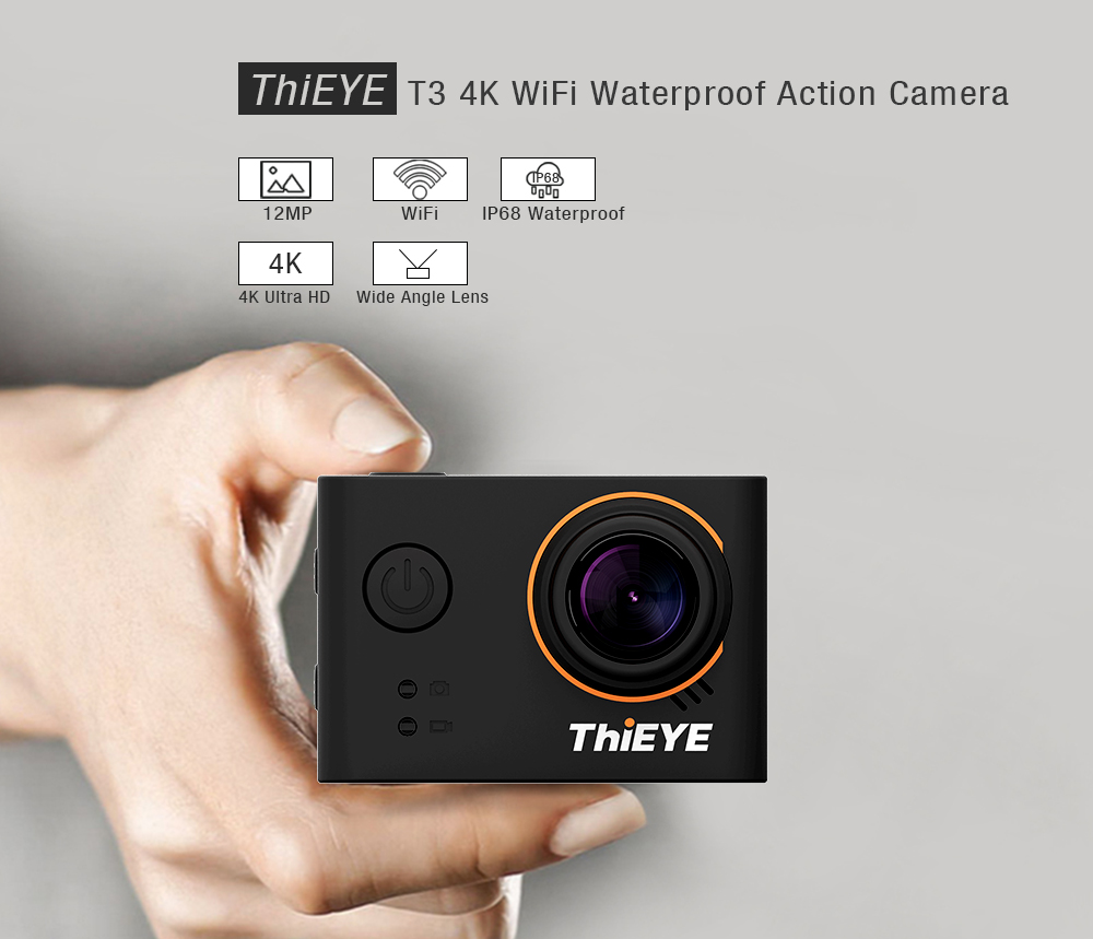 ThiEYE T3 4K WiFi Action Camera 2.0 inch Screen 40m Waterproof Sports Cam