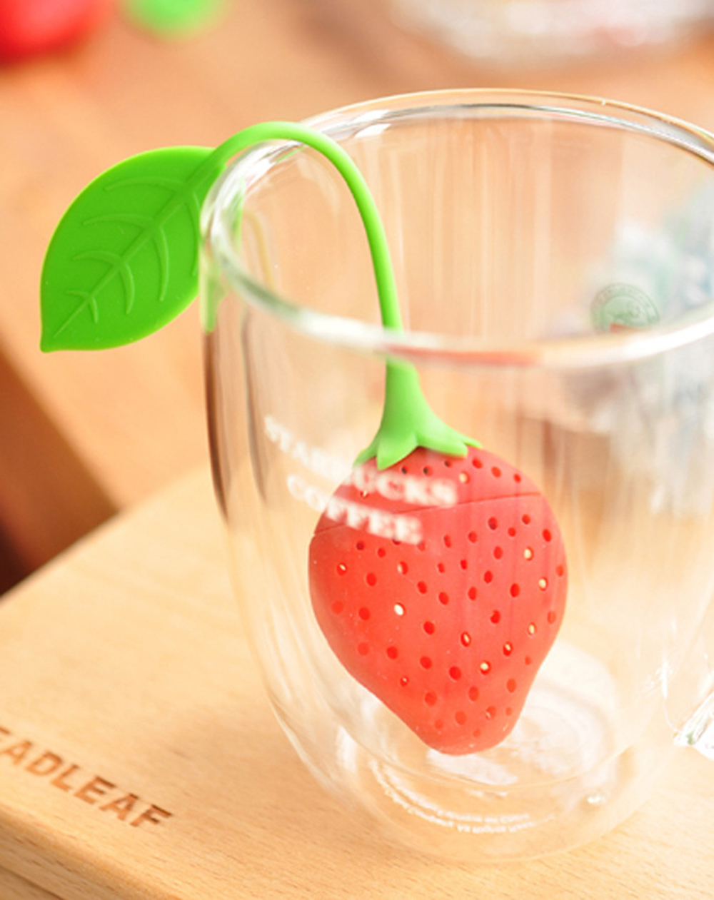 Strawberry Design Tea Infuser Strainer/ Suitable for Use in Teapot- Red