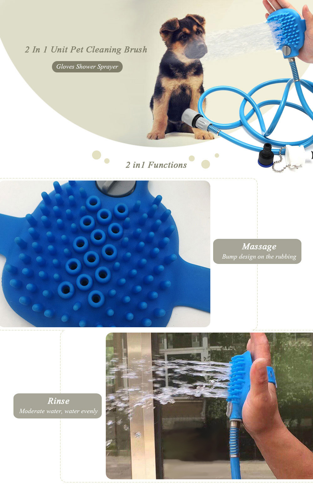 Creative 2 in 1 Unit Pet Cleaning Brush Gloves Shower Sprayer