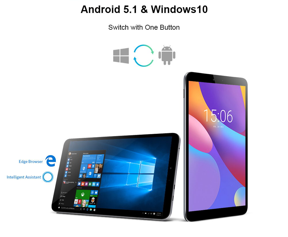 Chuwi Hi 8 Air Tablet PC 8.0 inch Windows 10 + Android 5.1 Dual OS Intel Cherry Trail x5-Z8350 Quad Core 1.44GHz 2GB RAM 32GB eMMC ROM Dual Cameras HDMI