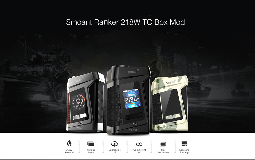 Smoant Ranker 218W TC Box Mod with 200 - 600F / 0.1 - 5 ohm / Supporting 2pcs 18650 Batteries for E Cigarette