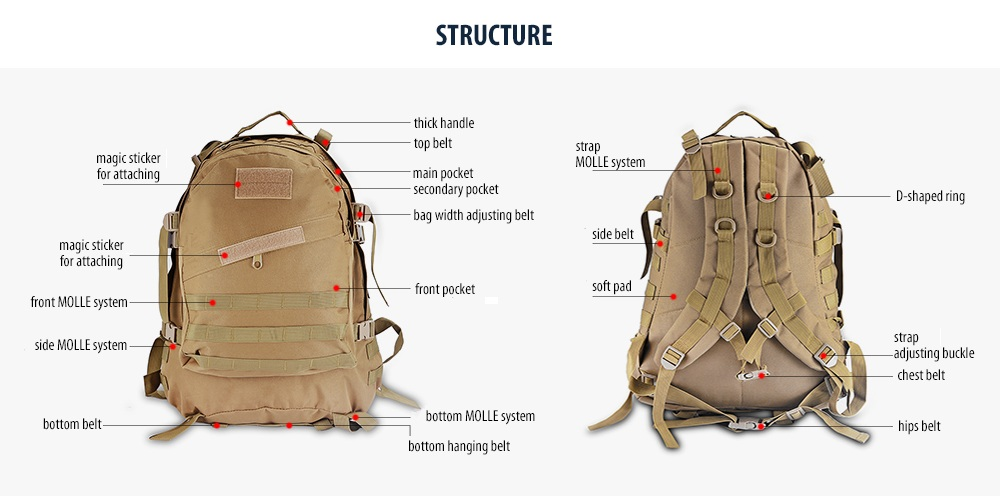 45L Tactical Backpack MOLLE Water-resistant Climbing Bag -  20.00 ... abe3f6f2c8238