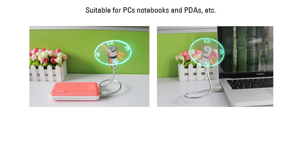 Mini Flexible USB Clock Fan with Adjustable Glowing LED Light  - Colorful