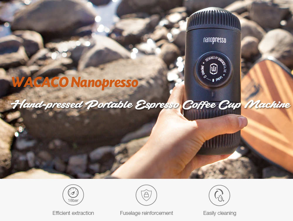 WACACO Nanopresso Hand-pressed Portable Espresso Coffee Cup Machine with Protective Case