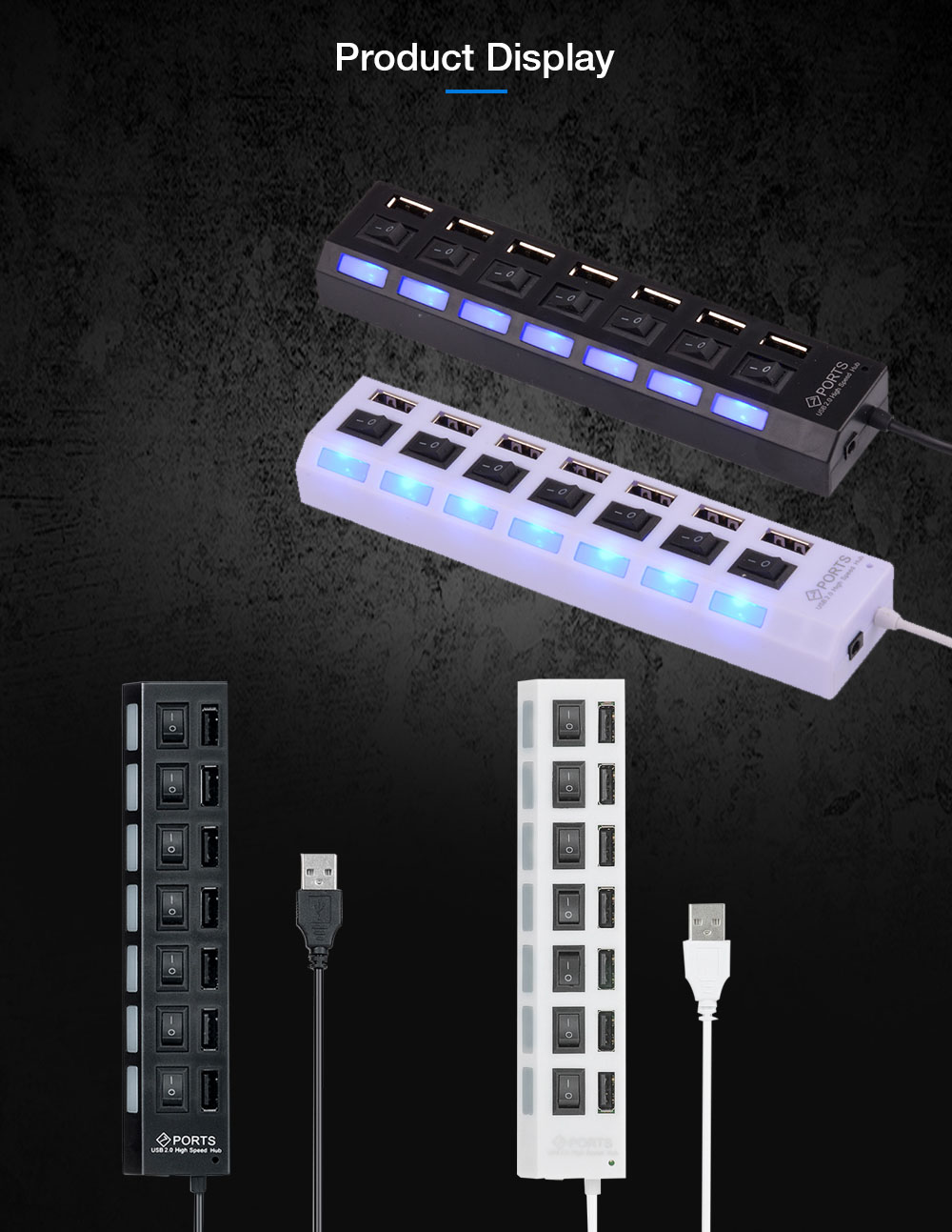 High Speed USB 2.0 7-Port Hub with Independent Switch