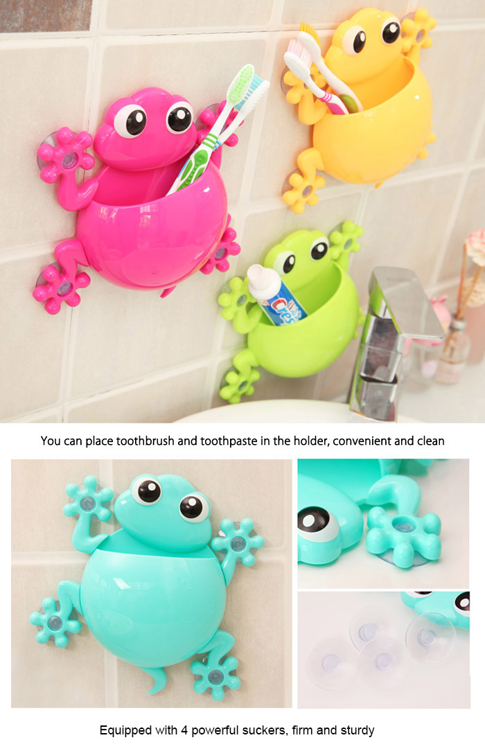Y11  Creative Multi-functional Gecko Shaped Cartoon PP Toothbrush Holder with Powerful Sucker- Yellow
