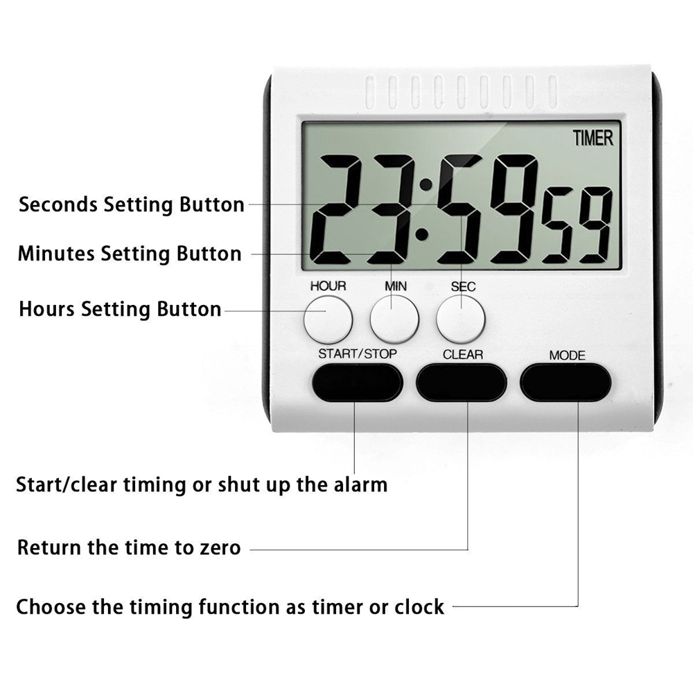 Large Lcd Magnetic Digital Timers Kitchen Cooking Timer Count Up How To Build 28 Led Clock Down Alarm 24 Hours Time