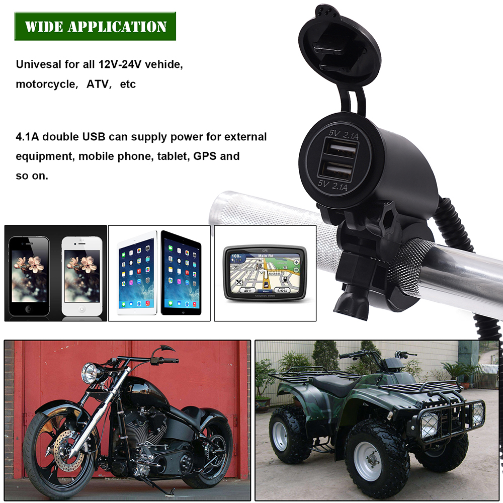 Motorcycle Dual Usb Charger Socket 42a 12v 24v Ip66 Waterproof With Car Fuse Box Product Width 82cm 323inch Height 75cm 295inch Package Included 1 X Charging Power Line50cm 10a