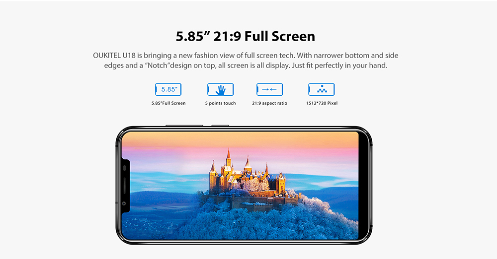 a1cd01d4720 OUKITEL U18 4G Phablet 5.85 inch Android 7.0 MTK6750T Octa Core 1.5GHz 4GB  RAM 64GB