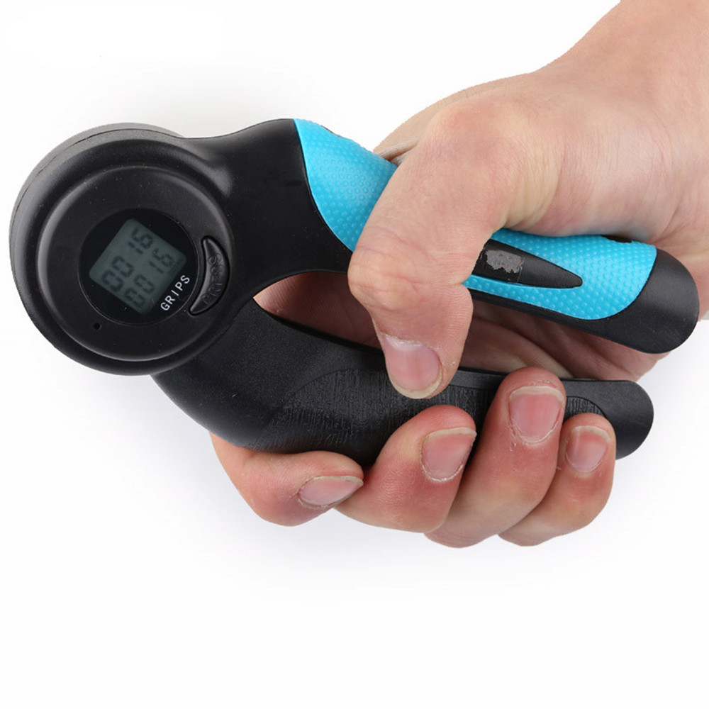 Digital Hand Grip Strengthener With Counter Count Timer And Calorie Modes Gripper Exerciser- Blue and Black
