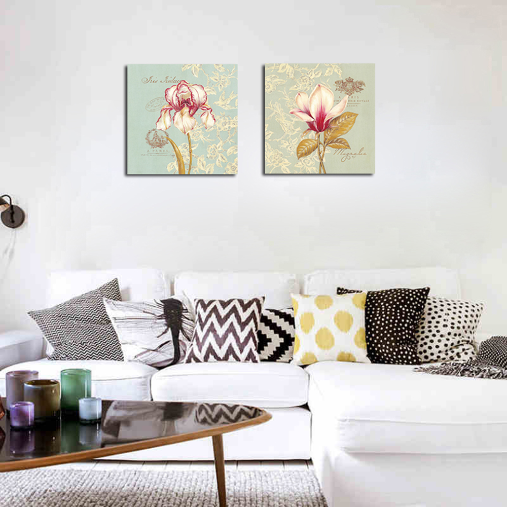 Living Room Background. QiaoJiaHuaYuan No Frame Canvas Living Room Bedroom Background Simple Flower  Decoration