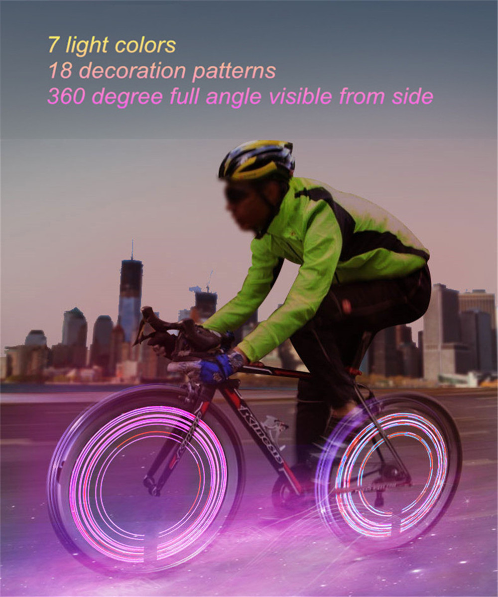 LEADBIKE Super Cool Bicycle LED Wheel Light Waterproof 7 Colors 18 Patterns Bike Spoke Lamp
