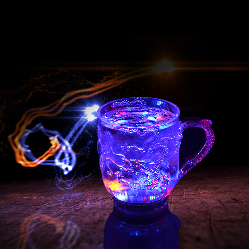 Engraved Tattoo Dragon   Lover Gifts Colorful Luminous LED Induction Magic Light Drinking Cup
