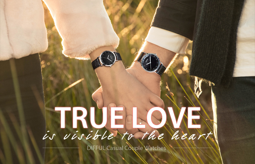 DIFFUL Simple Couple Watches Leather Band