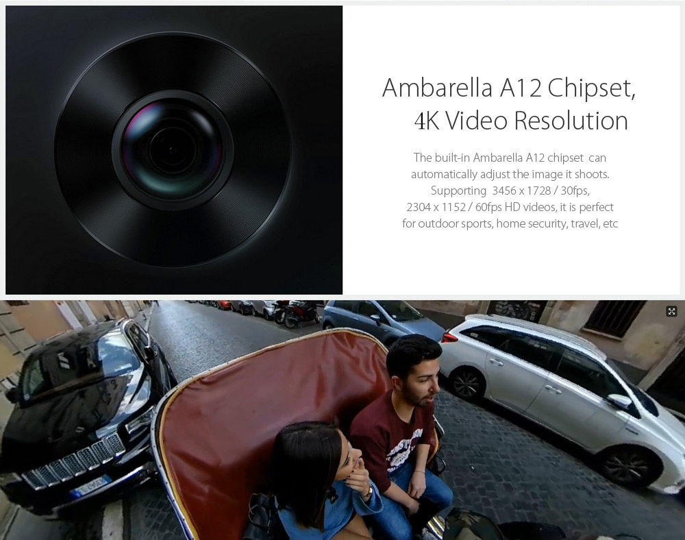 Xiaomi Mi Sphere Camera 4K 360 Degree Panorama Action Camera Ambarella A12 Chipset- Black International Edition
