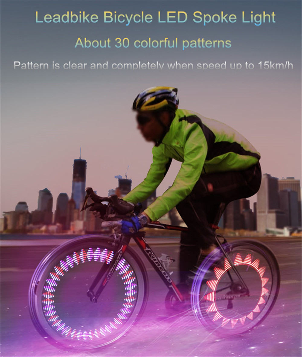 Bicycle Spoke Lights 30 Patterns Colorful Safety Wheel Lamp Movement and Light Sensor Night Riding Accessories