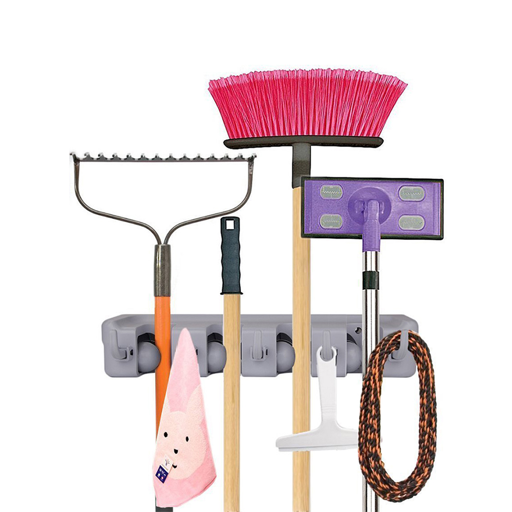 Mop and Broom Wall Mounted Holder With 4 Slots and 5 Hooks for Garage,Garden and Kitchen etc- Gray