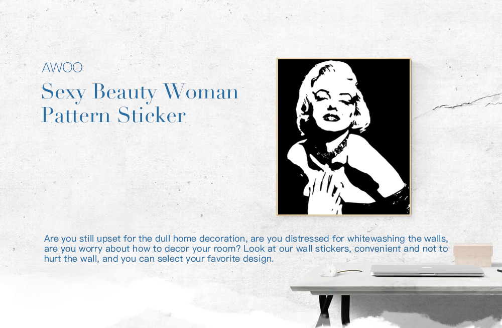 AWOO Sexy Beauty Woman Pattern Wall Sticker Home Decoration